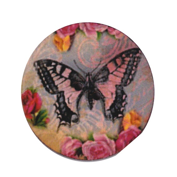 Butterfly button wood handcrafted Princess heart