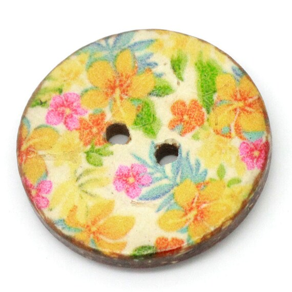 BCO25103 - colorful coconut 4 round buttons 25 MM