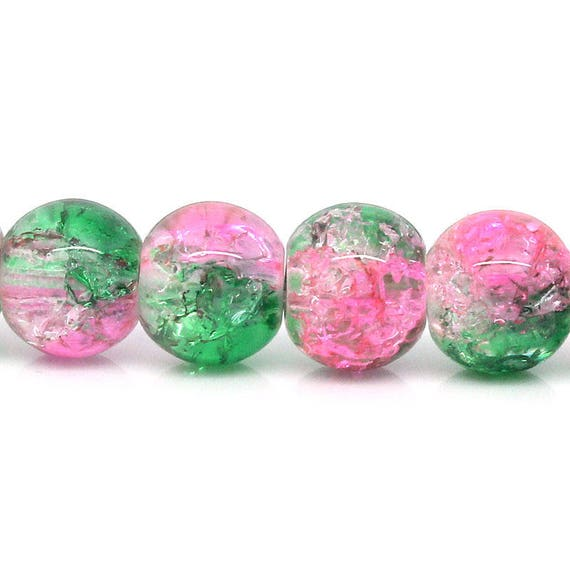 Set of 10 glass beads - pink and green - 8 mm