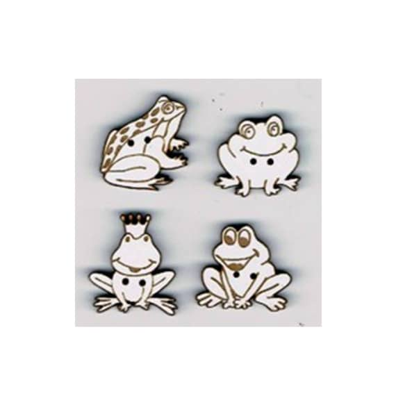 """frog"" buttons craft Board wood motif"