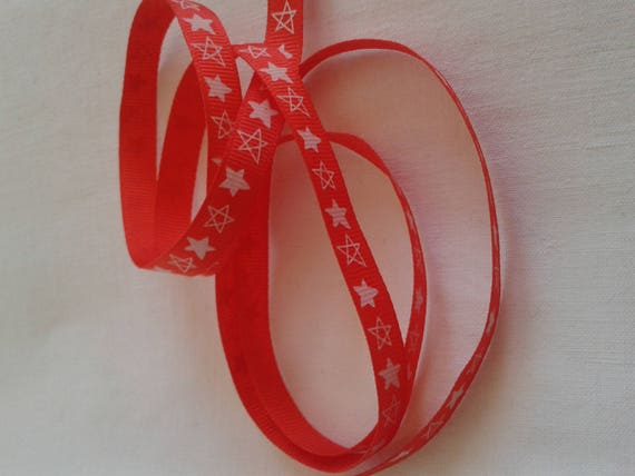 R - Ribbon grosgrain pattern Red Star - 10 mm - 2 M