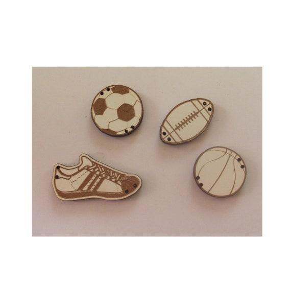 """Buttons handmade wooden """"sport"""" pattern plate"""