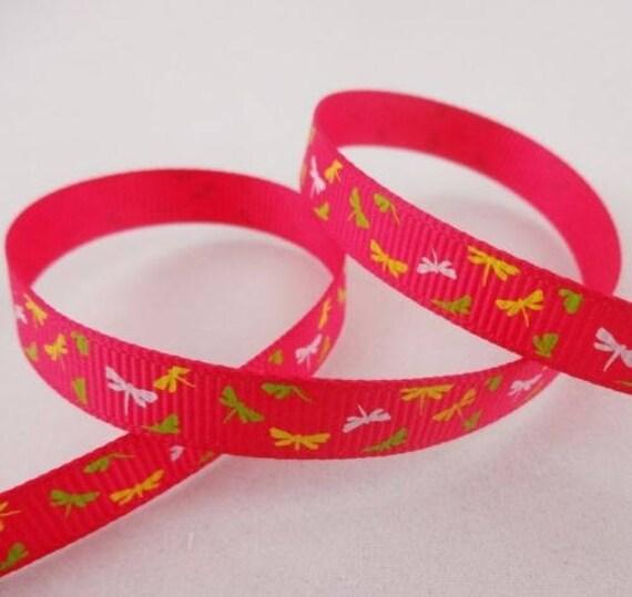 -Ribbon grosgrain Ribbon Rose pattern-Butterfly 10 mm - 1 M