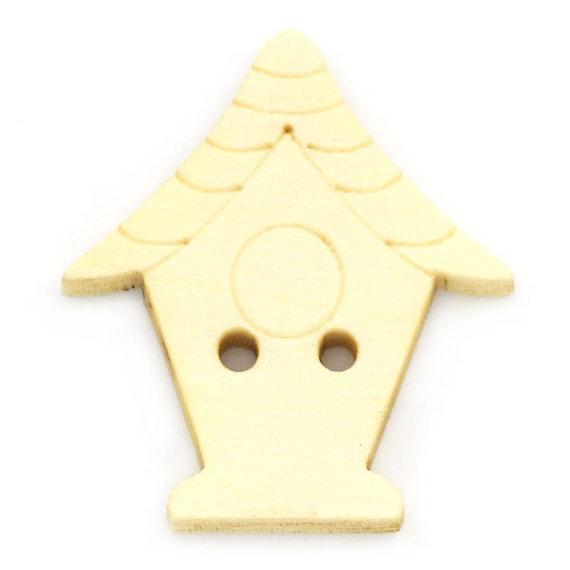 """BBN223 - 6 wooden buttons natural pattern """"Flower"""""""