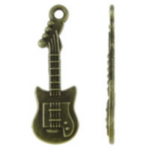 """Set of 5 charms bronze """"Guitar"""" size 10 x 32 mm"""