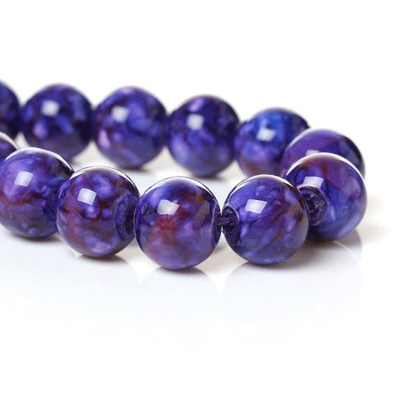 Set of 10 - purple - 10 mm glass beads