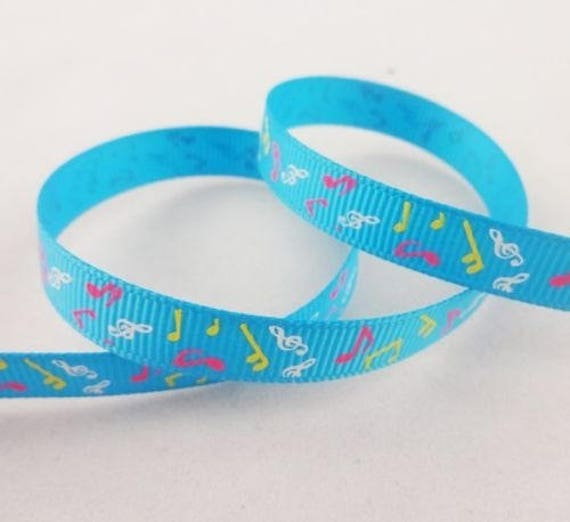 Blue grosgrain Ribbon note music - 10 mm - 2 M
