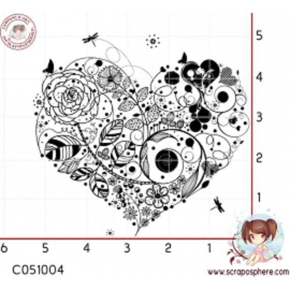 scraposphere - heart rubber stamp