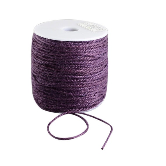 String of hemp - 6 M - plum - 2 mm thick