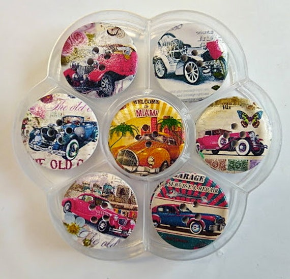 Cars - assorted wood buttons