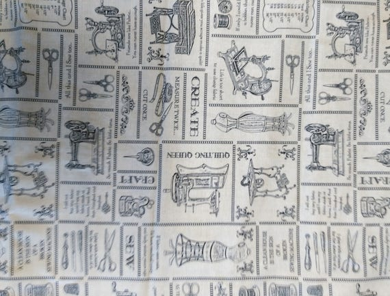 Fabric pattern retro sewing cotton - coupon 50 x 55 cm