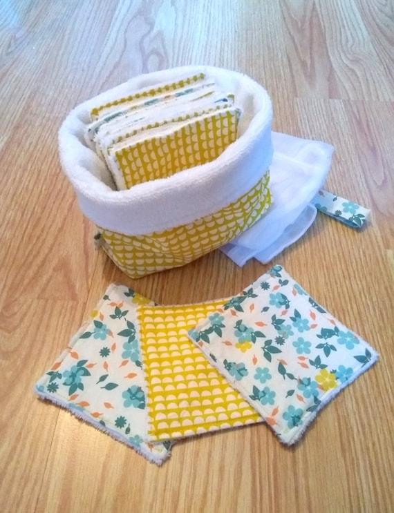 Lot lingettes lavables (X15) avec pochon de rangement et filet de lavage