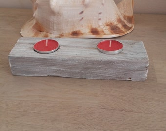 wooden candle holder tinted big limed