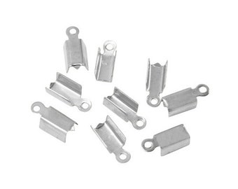 7mm cord tips - silver plated (30 pieces)