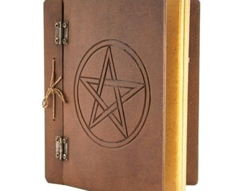 Magic wooden grimoire with GM protection pentacle