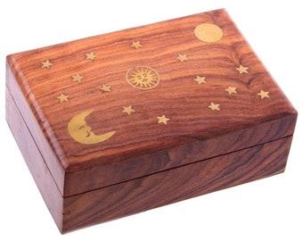 Ornamental box patterned sun, moon and stars