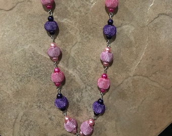 Pink & Purple Long Beaded Necklace; Metal and Glass Pearl Statement Necklace