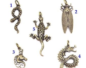 bronze snake cicada Unicorn dragon lizard pendant