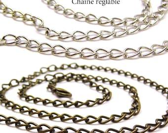 Chain necklace adjustable 50 cm chain necklace silver, bronze chain necklace, pendant necklace
