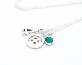 Button Charm Handmade Pendant Necklace Sew Sewer Seamstress Tailer Craft Gift