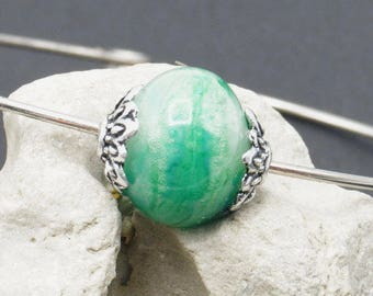 Bracelet with green - A91 Lampwork Glass Bead