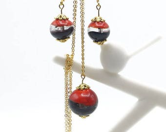Ornament bead glass Lampwork red and black with gold - A57 plated chain