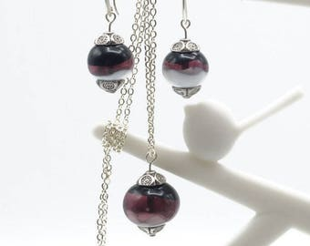 Ornament bead glass Lampwork purple and white with chain plated silver - A23