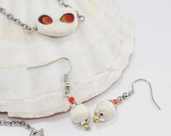 Ornament bead glass Lampwork ivory chain metal - A04-018