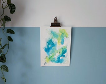 """Abstract Art Original Watercolour Mixed Media Painting On Paper   """"Contours 1"""" 9 x 12in / 22.9 x 30.5cm"""