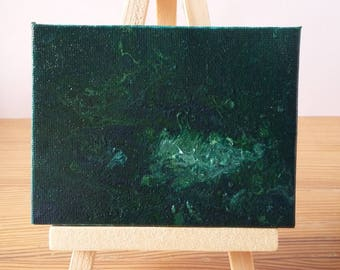 "Abstract Art Acrylic Painting Original | ""Evergreen"" 7cm x 9cm Canvas With Easel"