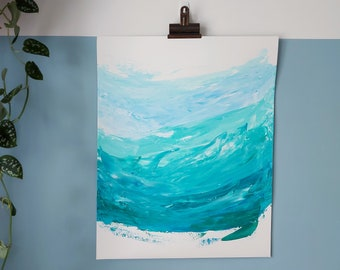 """Abstract Art Original Acrylic Wave Painting On Paper   """"Sea Foam 1"""" 16 x 20in / 40.6 x 50.8cm"""