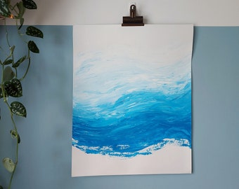 Abstract Wave Painting On Paper   Medium Coastal Artwork   Unframed Blue Abstract Art Original   16 x 20in / 40.6 x 50.8cm