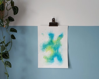 """Abstract Art Original Watercolour Mixed Media Painting On Paper   """"Contours 3"""" 10 x 14in / 25.4 x 35.6cm"""
