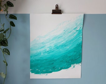 """Abstract Art Original Acrylic Wave Painting On Paper   """"Evergreen"""" 16 x 20in / 40.6 x 50.8cm"""