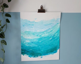 """Abstract Art Original Acrylic Wave Painting On Paper   """"Sea Foam 2"""" 16 x 20in / 40.6 x 50.8cm"""