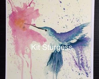 Watercolour Hummingbird Print