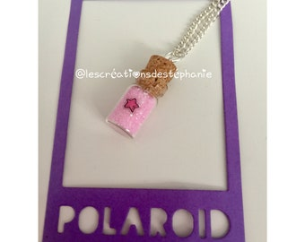 Pink star vial necklace