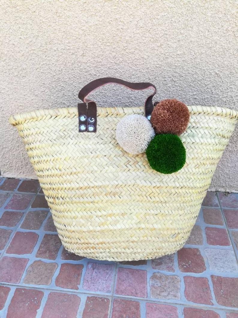 personalized basket without inscription Cabas 3 PomPoms