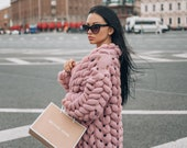Wool knitted coat.Chunky knit cardigan for woman.Knitting cardigan.Oversized pink sweater with free delivery