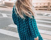 Wool knitted coat.Green wool cardigan.Chunky knit cardigan.Oversized viridian green sweater with free delivery