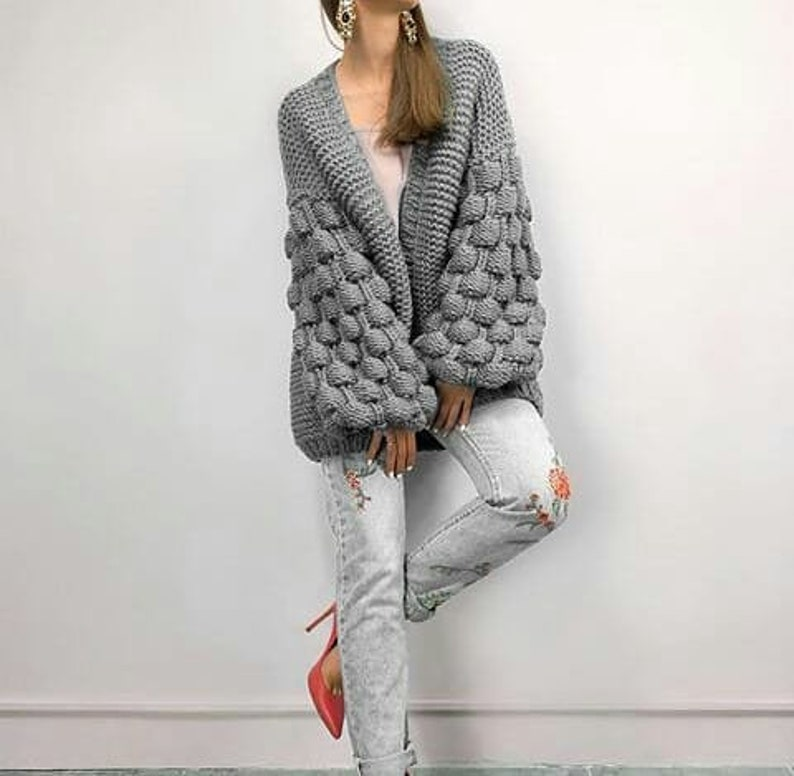 Wool knitted coat.Chunky knit cardigan.Cocoon cardigan.Oversized gray sweater with free delivery