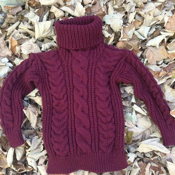 27ad6f9f94 Chunky knit sweater.Loose knit maroon sweater.Free delivery