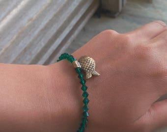 Bracelet 17/17 SWY leaf green glass beads