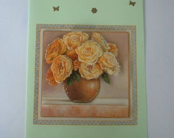 Card with yellow roses bouquet vase