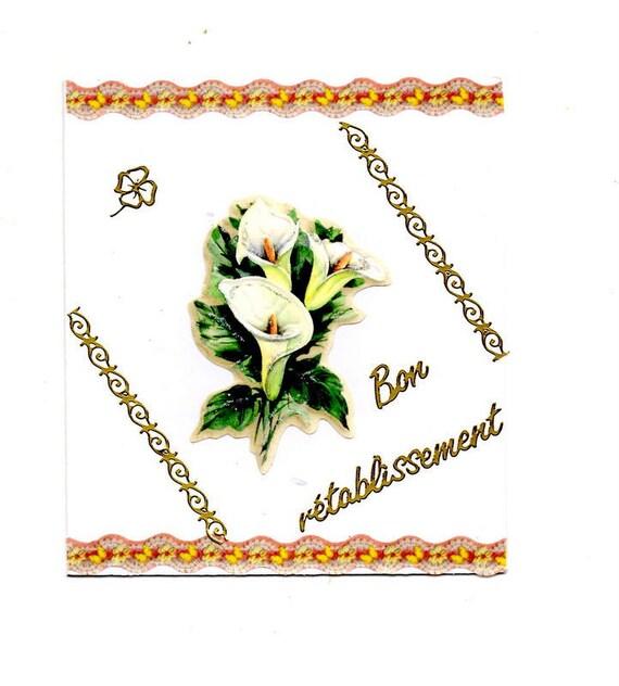 343 Carte De Voeux Bon Rétablissement Fleurs Blanches