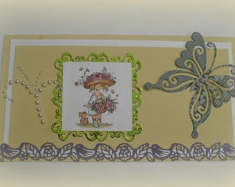 136 greeting card girl with a flower basket