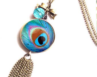 NECKLACE Peacock green blue BRONZE metal and glass dome.