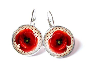 cute 20 mm red poppy earrings