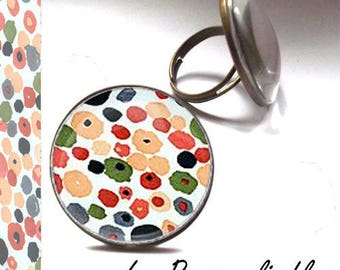 Adjustable dots multicolors in bronze with glass dome ring...