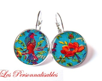 Silver poppy earrings Red Blue Bird